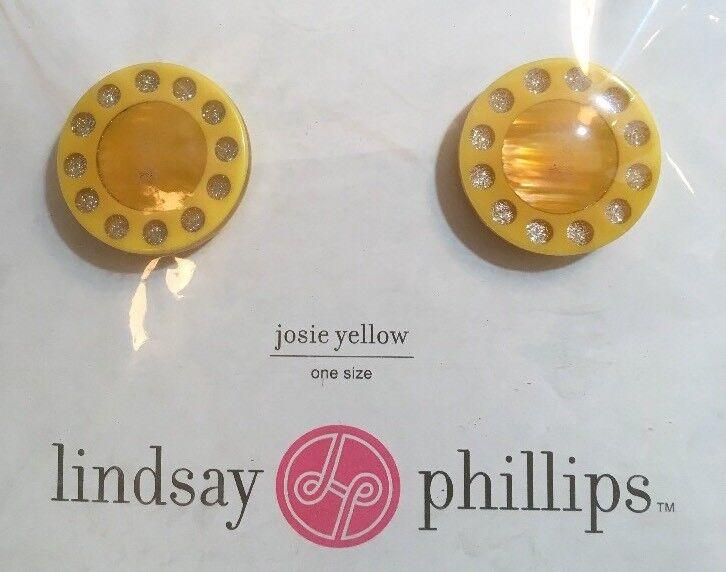 Lindsay Phillips Shoe Snaps JOSIE Yellow Round Clear Gemstones NEW