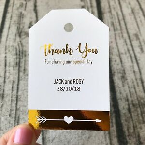 Gold Foil Wedding Thank You Gift Tags