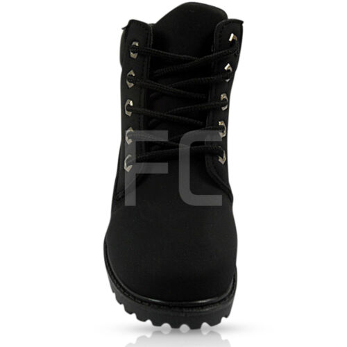 NEW BOYS GIRLS WOMEN LOW HEEL FLAT LACE UP CASUAL HIKING WINTER ANKLE BOOTS SIZE