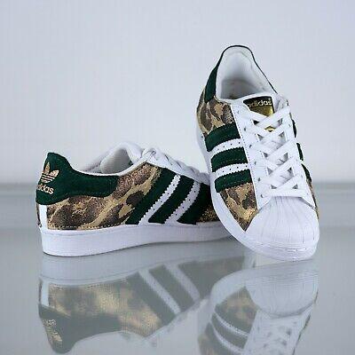 Adidas Superstar personalizzate scamosciato verde e leopardo, logo glitter tacco | eBay