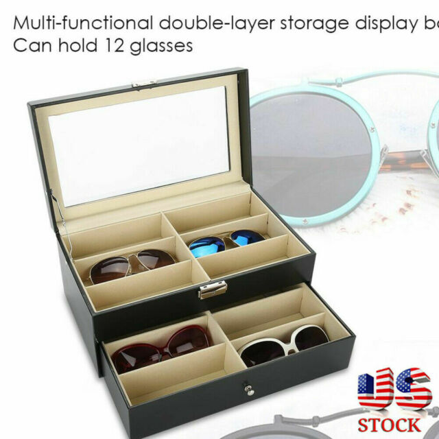 2 Layer 12 Slots Eye Glasses Case, Sunglasses Storage Case