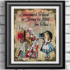 Art print on ANTICO LIBRO pagina Alice nel Paese delle Meraviglie Regina di Cuori dizionario