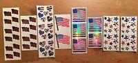 Sandylion Lot Of Shiny America Stars Patriotic Heart Usa Flag Scrapbook Stickers