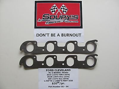 """Ford Cleveland Exhaust Gaskets 351C-351M-400 1.59/"""" x 2.00/"""" Ports w//2V heads"""