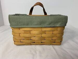 Longaberger-1999-Medium-Key-Basket-With-Sage-Liner-And-Protector-In-Excellent