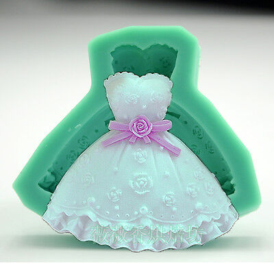 Wedding Dress Silicone Fondant Cake Mold Chocolate Baking Sugarcraft Mould Tool