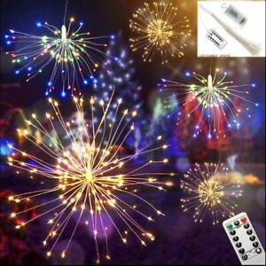 Colgante-hada-cadena-de-luz-LED-fuego-artificial-Navidad-Fiesta-Decoracion-8-Modos-Control-Remoto