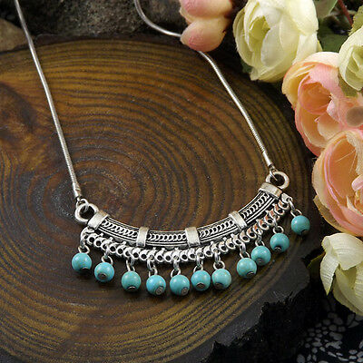 Bohimian Style Fashion Jewelry Silver Pld Turquoise Bead Charm Necklace Pendant