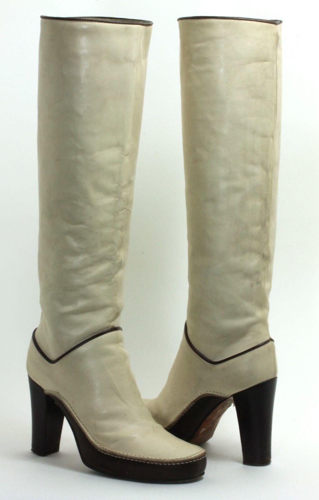 Damenstiefel Vintage Stiefel High Heels Plateau Diesel Creme Beige 36