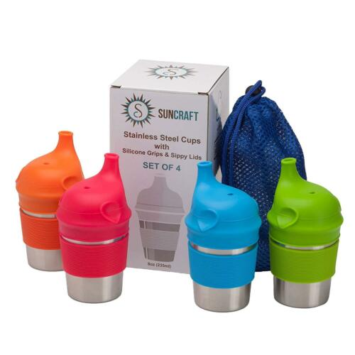 Suncraft Stainless Steel Cups With Silicone Sippy Lids  Grips For Kids Toddlers