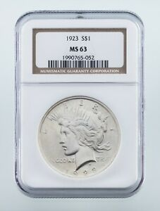 1923-Argent-Paix-Dollar-Classe-Par-NGC-Comme-MS-63-Beau-Piece-de-Monnaie