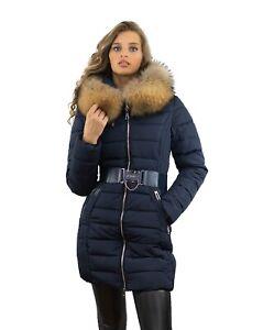 offizieller Preis neue Version modische Muster Details zu Damen Wintermantel Daunen Stepp Mantel mit Pelzkragen Fell  Echtfell Finnraccoon