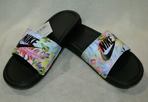 8f2d0f5a27f3de Nike Benassi JDI Black Multicolor Print Women s Slides Sandals-Size ...