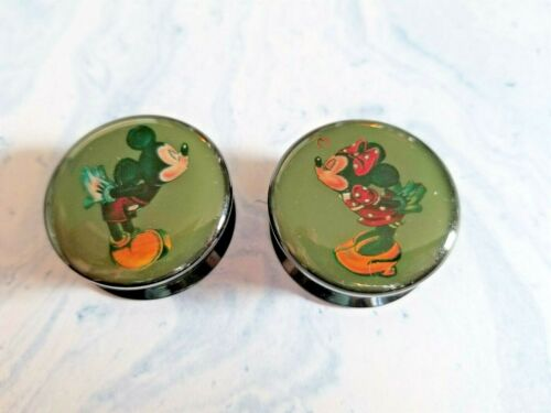 Mickey Minnie plugs PAIR 2 acrylic GREEN gauge piercing tunnel kissing retro