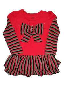 f29bdb60552 Image is loading Infant-Toddler-Girls-Red-Stripe-Bow-Christmas-Holiday-