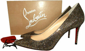 size 40 2f408 4a50a Details about Christian Louboutin Decollete 554 Pumps Glitter Pointy Toe 85  Toe Shoes 39.5