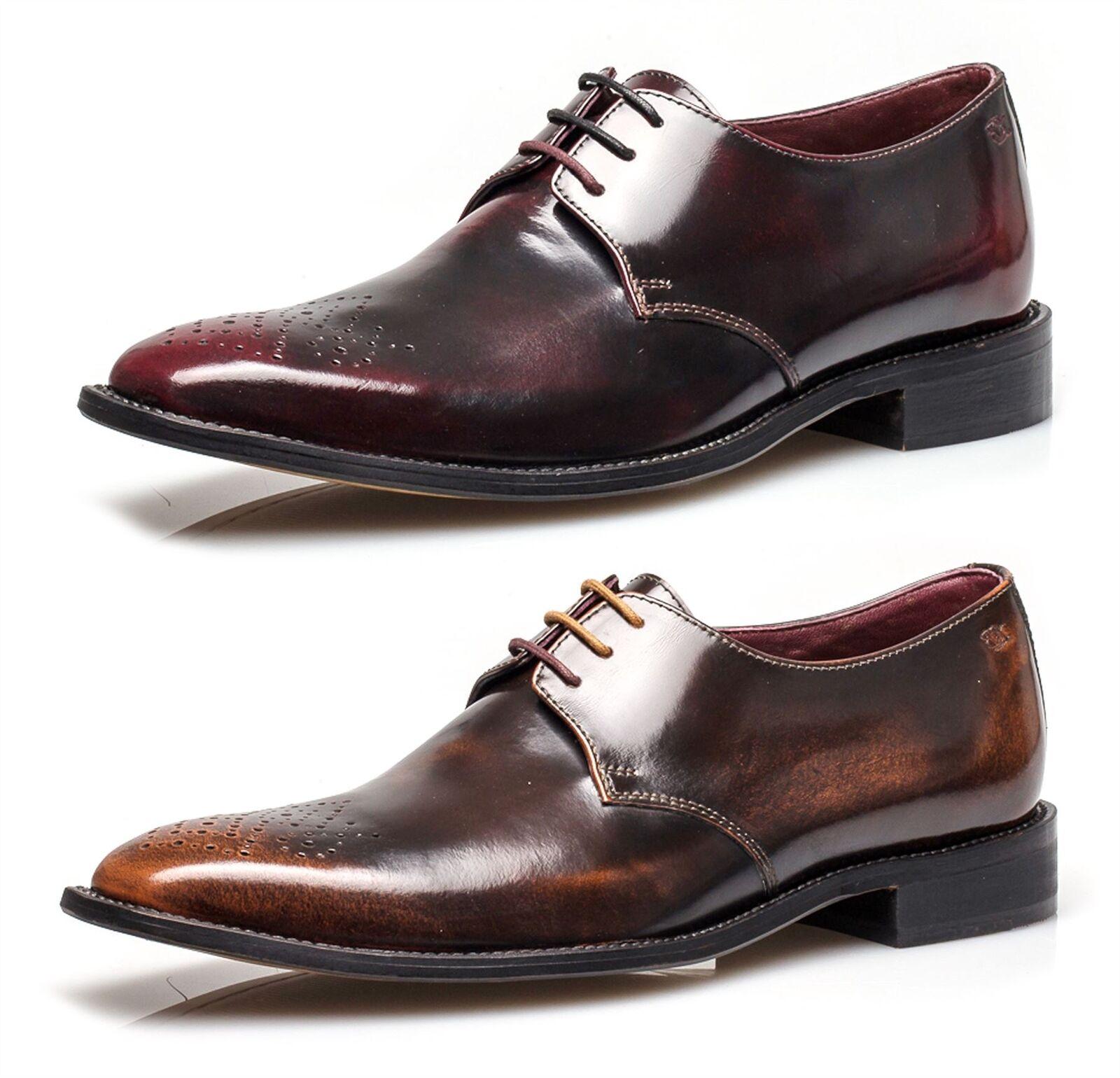 London Cuero Calado Earl Pulido tan Para Hombre Formales Oxford Encaje Gibson Zapatos Formales