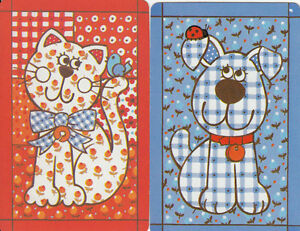 Vintage-Swap-Playing-Cards-2-SINGLE-HALLMARK-PATCHWORK-CAT-amp-DOG