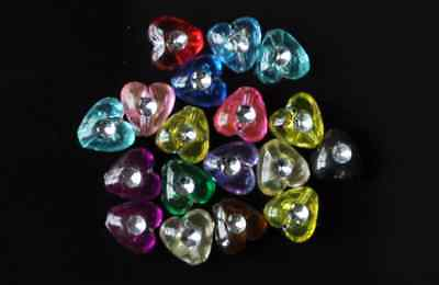 50pcs silver spot drill assorted acrylic heart bead 8mm
