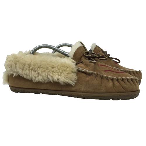 LL Bean Womens Wicked Good Moccasin Slippers Brown Leather Style 130484 Size 10M