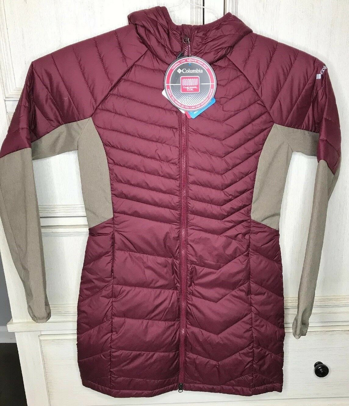 Columbia Womens Thermal Coil Water Resistant Oyanta Trail Long Hybrid Coat Med
