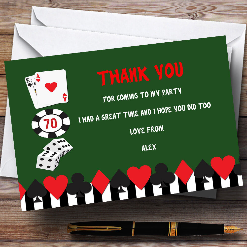 Grün Casino Personalised Birthday Party Thank You Cards