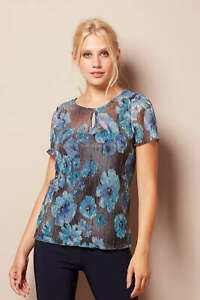Roman-Originals-Women-039-s-Shimmer-Floral-Print-Top-Sizes-10-20