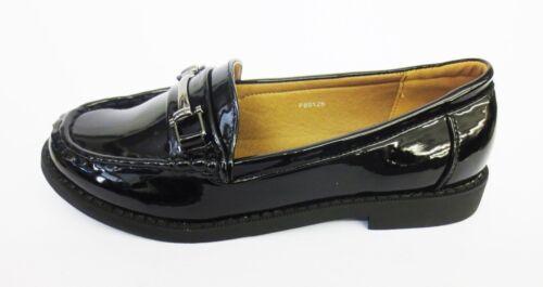 Kett R59B Spot On F8R0125 Ladies Black Patent PU Slip On Shoes w//Faux Buckle