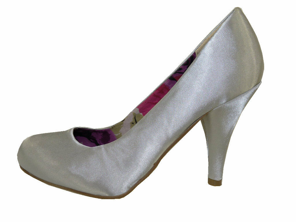 Madden Round Girl Halliee Silver Satin Fabric Classic Round Madden Toe High Heeled Pumps 1323e4