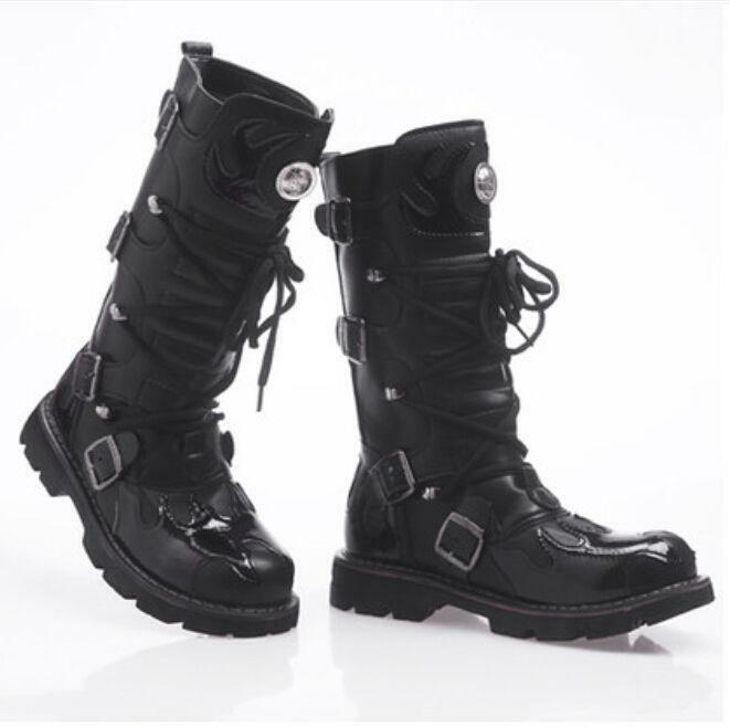 Mens Punk Military Lace Up Mid Calf Boots Gothic Work Motorcycle Casual shoes Sz