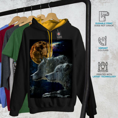 gold Men Animal Contrast Couple Moon New Black Hoodie Hood Wolf UZwqE
