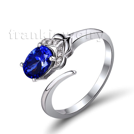18Kt White gold Natural Diamond 5x7mm Oval bluee Sapphire Engagement Ring WU261