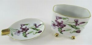 MITTERTEICH-Bavaria-Mid-Century-Cigarette-Holder-amp-Ashtray-Porcelain-w-Violets