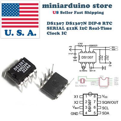 100PCS IC DS1307 DS1307N DIP8 RTC SERIAL 512K I2C Real-Time Clock NEW