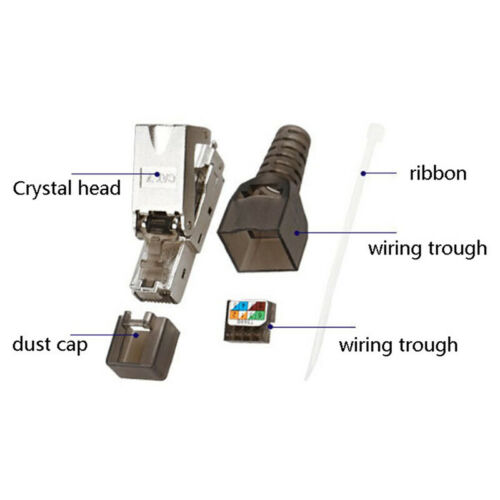 1Pc Tool-Free Shielded RJ45 Cat 7 Termination Plug Connector Modular 22-26AWGUS