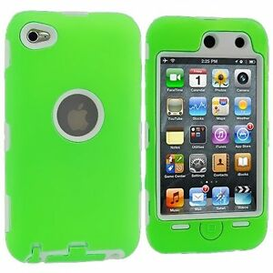 Hybrid-Hard-Silicone-Case-for-iPod-Touch-4th-Gen-White-Green
