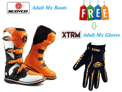 Scoyco Motocross Boots for Adults Quad Dirt Bike ATV Enduro Track Racing Off Road Sports Mx Boots in Black EU 41 // US 8 // UK 7