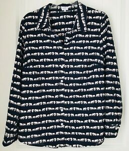 Crown-amp-Ivy-Navy-Blue-with-White-Elephants-Long-Sleeve-Shirt-Cotton-Women-Size-L