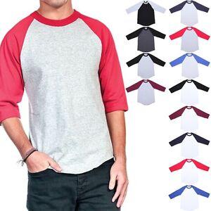 89d6d7fe Men's 3/4 Sleeve Crew Neck Color Block Raglan Baseball T Shirt ...