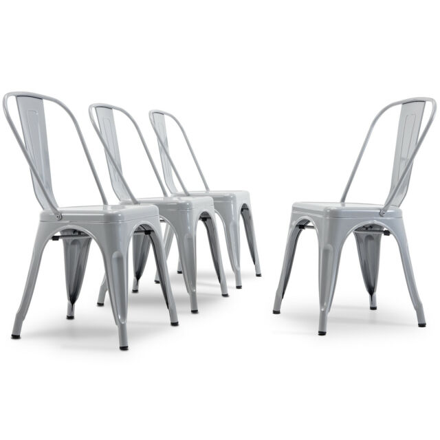 Modern Kitchen Set Of 4 Dining Chairs High Back Gray Metal Chair Retro