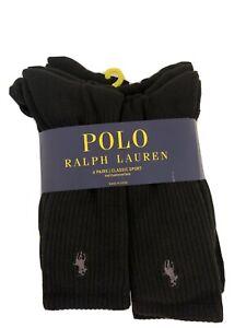 Polo-Ralph-Lauren-Athletic-6-Pair-Crew-Socks-Black-with-Grey-Pony-Size-6-12