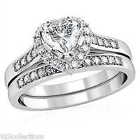 Love's Day 5 Mm Heart Clear Cz Stone Wedding Rhodium Ladies Ring Set Size 5
