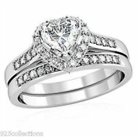 Love's Day 5 Mm Heart Clear Cz Stone Wedding Rhodium Ladies Ring Set Size 5
