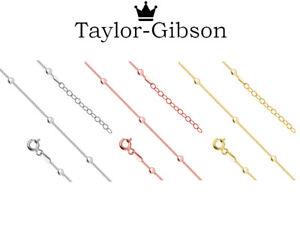 925-Sterling-Silver-Ankle-Bracelet-Anklet-Ball-Bead-Adjustable-Gold-Rose-Gold