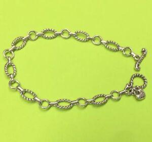 Brighton-1-Toggle-Chain-Silver-Starter-Bracelet-Delicate-Chain-Oval-Connector