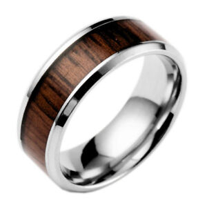 Stainless-Tungsten-Inlaid-Ring-Men-Sz-6-13-Silver-Steel-8mm-Band-Wood