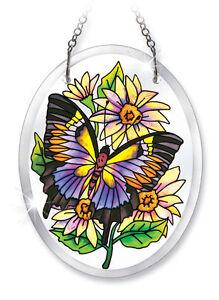 "Daisy BUTTERFLY Sun Catcher Flowers Purple AMIA 5"" High Beveled Butterflies New"