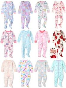 NWT The Childrens Place Dinosaur Girls Stretchie Footed Sleeper Pajamas 2 3 4 5