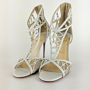 CHRISTIAN-LOUBOUTIN-Martha-White-Leather-Cutout-Sandals-Heels-Shoes-Size-38