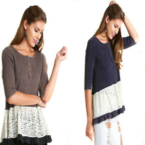 UMGEE-Womens-Boho-Brown-Navy-Thermal-Lace-3-4-Sleeves-Blouse-Top-Shirt-S-M-L